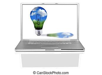 laptop computer, met, groene, energie, concept