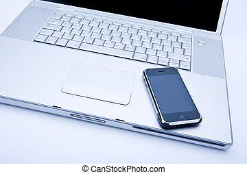 laptop computer, met, mobiele telefoon