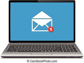 laptop-computer, mit, symbol, von, e-mail, annahme