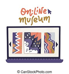 Laptop Computer monitor icon with art gallery on screen in flat style isolated on white background. Online museum concept. Stay at home. Online excursion. Vector illustration.