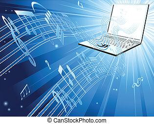 laptop computer, muziek, achtergrond