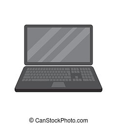 Laptop computer notebook in flat style isolated on a white background.