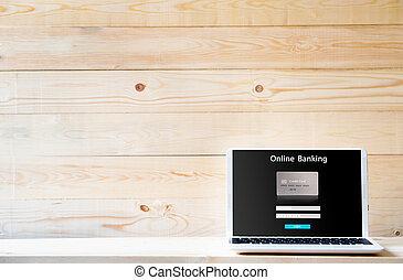 Laptop computer opening online electronic internet banking