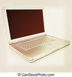 Laptop Computer PC. 3D illustration. Vintage style.