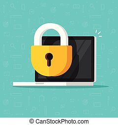 Laptop computer security vector icon, flat desktop pc with closed lock, concept of firewall protection, privacy access, private data, safety service or system, prohibit or forbidden access