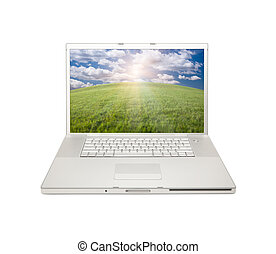 laptop-computer, silber, freigestellt