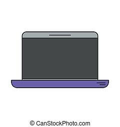 laptop-computer, silhouette, bunte