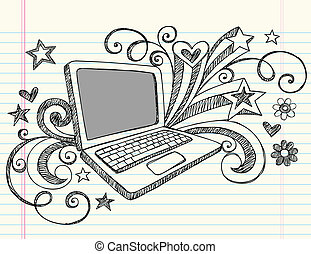 Hand-Drawn Business / School Laptop Computer Sketchy Notebook Doodles with Swirls, Hearts, and Stars- Vector Illustration Design Elements on Lined Sketchbook Paper Background