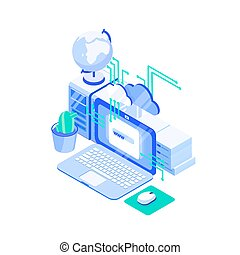 Laptop computer, stack of servers and globe. Web or internet hosting technology, online website support service, cloud computing and storage. Creative colorful isometric vector illustration.