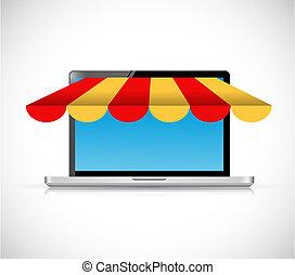 laptop computer store illustration design