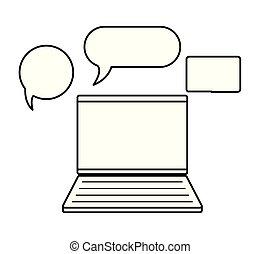 laptop computer, toespraak, bellen