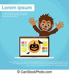 Laptop Computer Werewolf Halloween Monster Wild Animal Wolf Scary Cartoon Character Smile