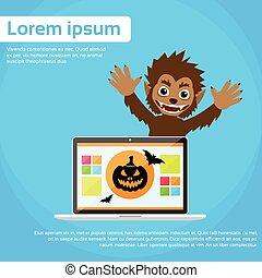 Laptop Computer Werewolf Halloween Monster Wild Animal Wolf Scary Cartoon Character Smile