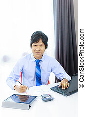 laptop computer, werkende , zakenmens