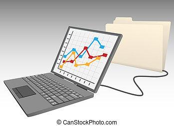 laptop computer, winkel, data, in, databank, bestand...