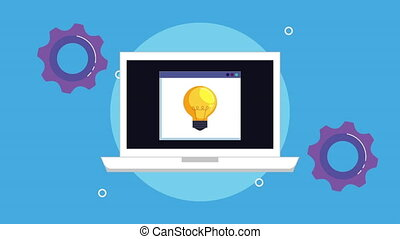 laptop computer with bulb light and gears , hd video...