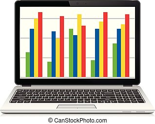 Laptop computer with business graph on screen