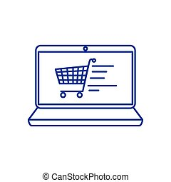 laptop computer with cart shopping in screen