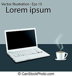 Laptop computer with cup of coffee background, with copy space.