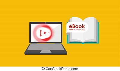 laptop computer with ebook technology , hd video animation