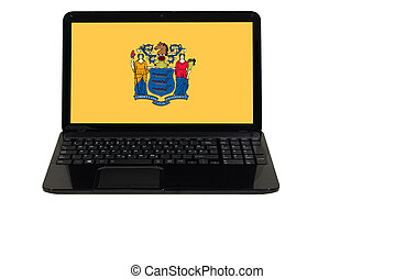laptop computer with flag of american state of new jersey