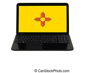 laptop computer with flag of american state of new mexico