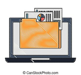 laptop computer with folder and documents files