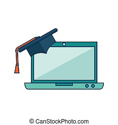 laptop computer with graduation hat isolated icon vector...
