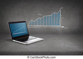 laptop computer with graph on screen