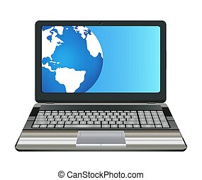 laptop computer with half earth globe on screen
