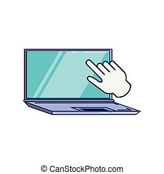laptop computer with hand cursor