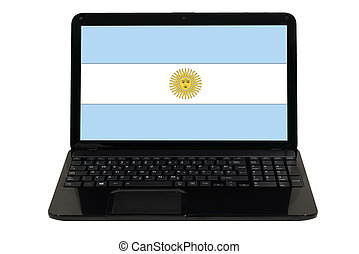 laptop computer with national flag of argentina