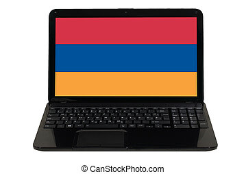 laptop computer with national flag of armenia