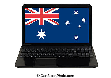 laptop computer with national flag of australia