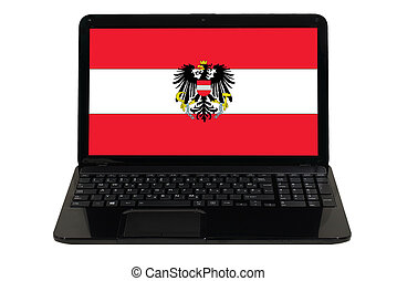 laptop computer with national flag of austria