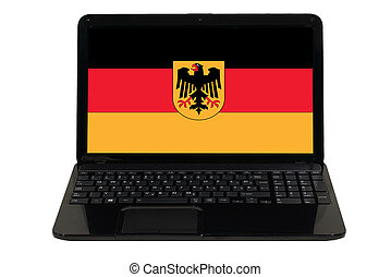 laptop computer with  national flag of germany