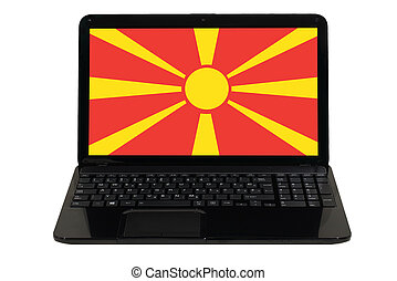 laptop computer with national flag of macedonia