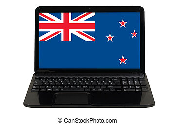 laptop computer with national flag of new zealand
