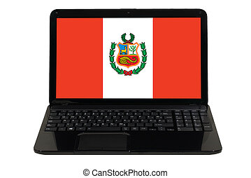 laptop computer with national flag of peru