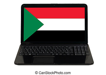 laptop computer with national flag of sudan