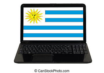 laptop computer with national flag of uruguay