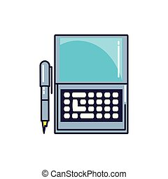 laptop computer with pen icon