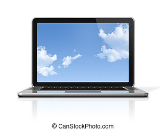 Laptop computer with sky screen isolated on white