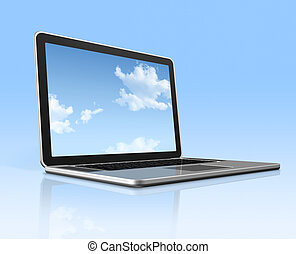 Laptop computer with sky screen isolated on blue