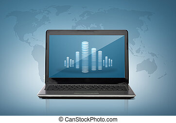 laptop computer with skyscrapers screen