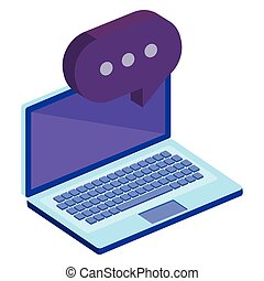 laptop computer with speech bubble