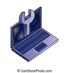 laptop computer with tool wrench isometric icon