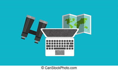 laptop computer with travel items animation