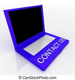 Laptop computer with word contact us on it