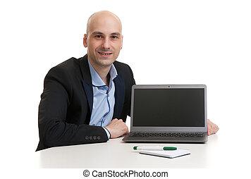 laptop computer, zakenmens
